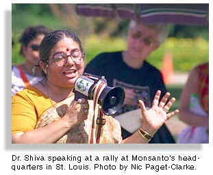 ecofeminist Vandana Shiva speaking with mega phone