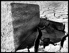 Cube (Jeff T. Alu) Tags: mud dry cracked earth black white phototoshop digital surreal moody lonely dark outdoors bleak blackandwhite deserted illusion zen medetation medetate power impact graphic doom bright earthy dirt gritty intense visionary heat passion 4x4 remote california desolate dreamy nightmare euphoric