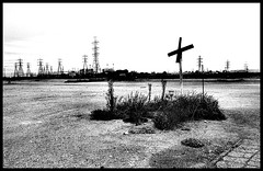 Crossing (Jeff T. Alu) Tags: digital black white photoshop crossing cement surreal moody lonely dark outdoors bleak blackandwhite deserted illusion zen medetation medetate power impact graphic doom bright earthy dirt gritty intense visionary heat passion 4x4 remote california desolate dreamy nightmare euphoric