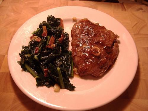 Lamb leg steak with Kale