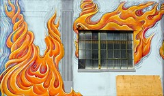 flamejob (The RedLion) Tags: painting mural flames fire wall urban urbanfragment oakland tag1 tag2 tag3 taggedout