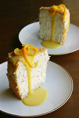 poppyseed angel food cakes with warm passionfruit-citrus curd