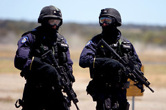 RAAF Airshow: Counter Terrorism Response Group (Devar) Tags: topv333 glare counter aviation military police rifles equipment airshow terror terrorism guns pearce raaf westernaustralia weapons airbase canon70200mmf28lisusm interestingness14