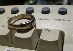 Wedding Ring (alohadave) Tags: wedding white macro gold iso100 keyboard fuji ring finepix fujifilm f28 6mm s3100 06ev 01sec