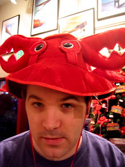 Cal trying on hats (Paul Hammond) Tags: 2005 hat crab cal calhenderson takenwithixus2 flickr:user=bees ph:camera=ixus2