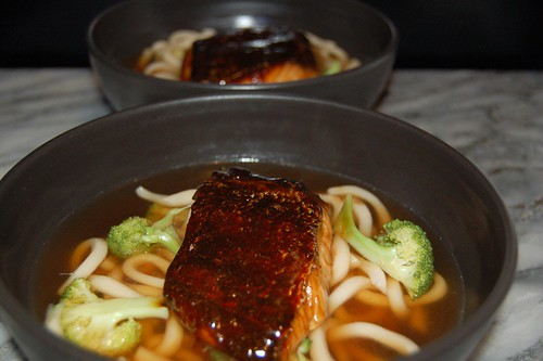 Dashi broth with Udon Noodles and Glazed Dolphin Fish Fillet© by haalo