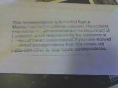 This correspondence is forwarded from a Massachusetts Correctional Institution