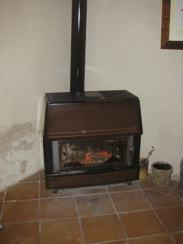 wood heater in dining room