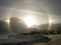 three sun morning (Pierre Metivier) Tags: sun mountain snow france alps topf25 topv2222 alpes topf50 topf75 500v20f magic topv1111 halo 100v10f topv5555 topv777 topv9999 topv3333 topv4444 ancelle topv8888 topv6666 hautesalpes canons80 fcrbnews