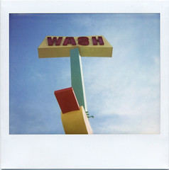 wishy washy (::enrapture::) Tags: blue red sky green sign yellow polaroid losangeles vermont lofi carwash wash squareformat scanned instant losfeliz spectra enrapture
