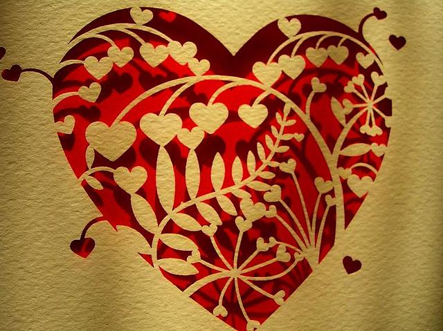 laser cut flowers in a laser cut heart