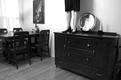 rooms with woman (detail): dining room, with woman (var. 4) (L_) Tags: blackandwhite bw selfportrait topf25 autoportrait diningroom lu roomswithwoman forbrittney lufeaturephoto utatagenerositything for7