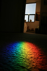 A Prism on the Bedroom Window Frame Projects a Rainbow Patch onto the Carpet. (Tony Lea) Tags: blue winter light red white ontario canada green window colors sunshine yellow carpet rainbow bedroom colours apartment purple spectrum january prism projection whitby refraction rug 365 2009 pictureaday optics refract project365 365project colorsinourworld