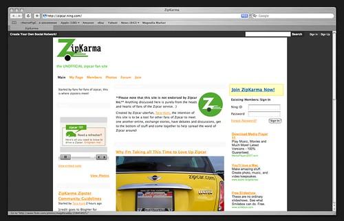 ZipKarma [http://zipcar.ning.com]