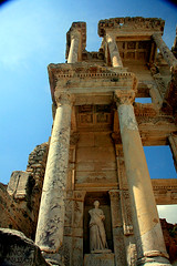 Closeup of Library of Celsus - Ephesus, southwest Turkey.