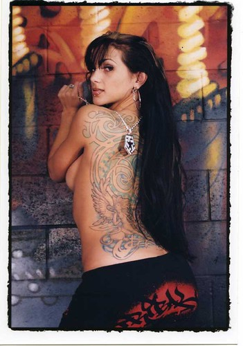 Tattoo Piercing : Large Tattoo Design in Girl Back Body and Piercing