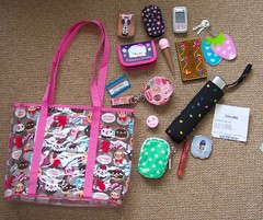 What's in my bag? (toriloveskitty) Tags: bag tin mirror phone strawberries purse hm lipgloss whatsinmybag claires theworks primark cathkidston cramcream oopsydaisy nookart lipsmackers
