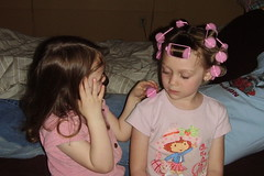 Ashlee with Curlers and  Aimee 2 041507 web