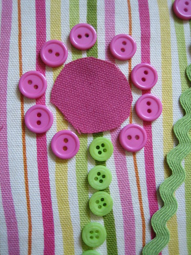 button stem, fabric center, button petals