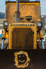 Bulldozer with Smiley Face, Hastings Beach (Peter Cook UK) Tags: hastings beach fishing smileyface sussex bulldozer