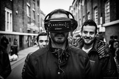 are you for real?! (jrockar) Tags: streetphotography portrait man virtual reality goggles bw mono blackandwhite canon 5d mk mark iii 3 l 40 stm f28 prime lens standard london bricklane guy ianimal digital world people human life contemporary issues modern city urban candid moment instant snap shot decisive jrockar janrockar idiot ordinarymadness vr vrheadset headset