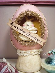 Springtime Greetings Theater by Nicol Sayre 2005 (holiday_jenny) Tags: pink rabbit bunny easter gold spring box antique egg decoration cream tinsel crackle vintagestyle papermache candycontainer