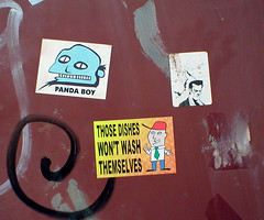Old, New and Mr O (pandaboy_cardiff) Tags: boy streetart panda stickers cardiff bald dishes mro pandaboy
