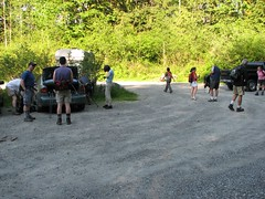 The trailhead gathering of hikers