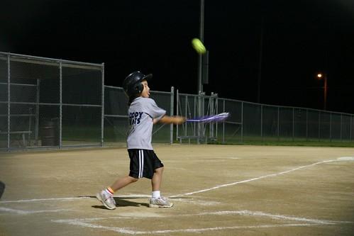 Cody playing softball