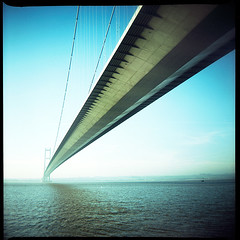 The Process Of Crossing (duncmc) Tags: bridge mediumformat river xpro crossprocessed toycamera 120film fujichrome 100asa provia100f humberbridge humber eastyorkshire riverhumber vredeborchfelica