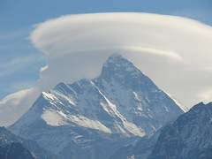 Nanda Devi, Lenticular Cloud (Shikhar Sethi) Tags: blue winter white snow mountains clouds trekking trek silver cool skiing magic cap jungle uttaranchal lenticularcloud lenticular himalayas highest trishul auli nandadevi uttarakhand superaplus aplusphoto nandadev