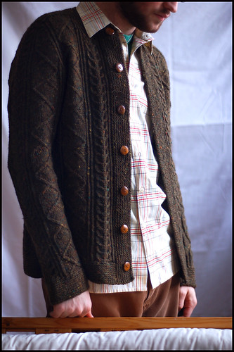 Saddle Shoulder Aran Cardigan 1