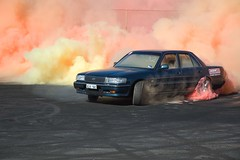 Cressida 2 (Rohan Phillips) Tags: red orange yellow nikon extreme d70s international toyota adelaide burnout coloured tyres 2007 raceway powerfest cressida