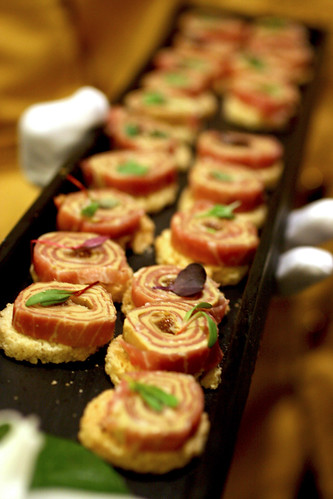 Tray of proscuitto rolled with foie gras