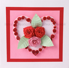 Valentine card (Inna's Creations) Tags: flowers roses paper cards handmade crafts valentine  filigree quilling