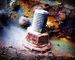 Pipe joint nut & bolt (hartlandmartin) Tags: lomo fuji pipe rusty nutbolt finepixs5600