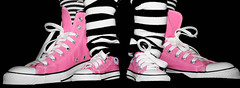 Day 9/365....Like Mother, Like Daughter (cherriesjessilee) Tags: pink blackandwhite baby selfportrait topf25 socks shoes stripes daughter converse cons chucks chucktaylors allstars 365days hopeyoulikethisbecky ithoughtofyouwhiledoingthis