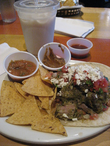 Carnitas chile verde taco and horchata from Cactus Taqueria