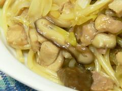 鶏とネギと椎茸の和風スパゲティ