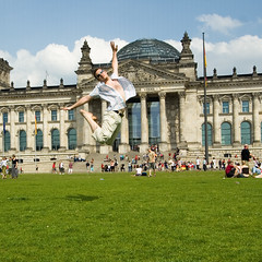 Jumping to 26 ;-) (ole) Tags: berlin me grass germany myself deutschland jump europe outdoor reichstag caughtintheact bundestag eole ole europeanjumpproject
