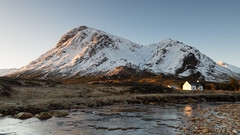 Golden glow (evorichie101) Tags: etive mor buachaille scotland snow snowy peaks ice river sunrise warmth