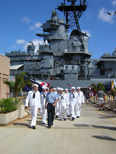 Navy Sailors at the USS Missouri in Pearl Harbor