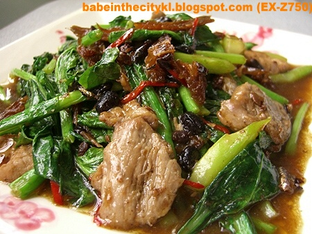 stir fry kailan with pork and fried dace with salted black beans
