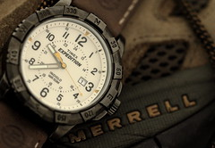 Timex, Expedition. 4 (EOS) (Mega-Magpie) Tags: canon eos 60d field watch timepiece timex expedition indoorwinterblues quartz merrell shoe brown tan indiglo wristwatch