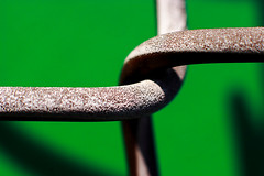 arabesque ( marc_l'esperance) Tags: shadow abstract color colour macro green texture geometric metal vancouver composition contrast canon fence eos raw dof bend geometry abstractart background  twist surface chain chainlink 10d link abstraction form minimalism nocrop uncropped twisted depth minimalist allrightsreserved 2007 arabesque cml extensiontube canonef50mmf14usm abigfave anawesomeshot colorphotoaward weeklyfav07