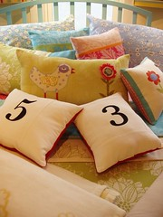 bird:number pillows on bed (redshoesllc) Tags: handmade craft pillows redshoes