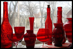 Red Glass (canadianlookin) Tags: red window glass bottle vase