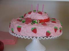 Strawberry Shortcake Cake (sharna11) Tags: birthday pink cake fruit vintage strawberry candy hats strawberryshortcake milkglass noveltyfood cakeplate milkglasscakeplate