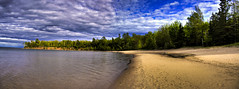 Barrier Beach HDR-Pano (elventear) Tags: blue sky 15fav lake beach wisconsin clouds forest interestingness pano superior madeline hdr madelineisland bigbay interestingnesswhore barrierbeach utatafeature superiorlake