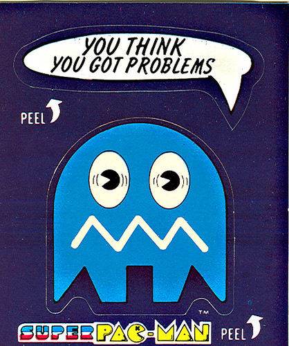 "Fleer ""Super Pac-Man"" Sticker Cards - 'Problems'  ((1982))"